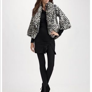 Alice Olivia - Faux-Fur Shawl Collar Zebra Jacket